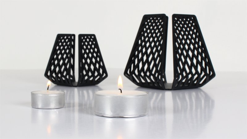 Candleholders for tealights – LYSESTAGEN from BY DYB in the pattern Line with matching sizes of tealights