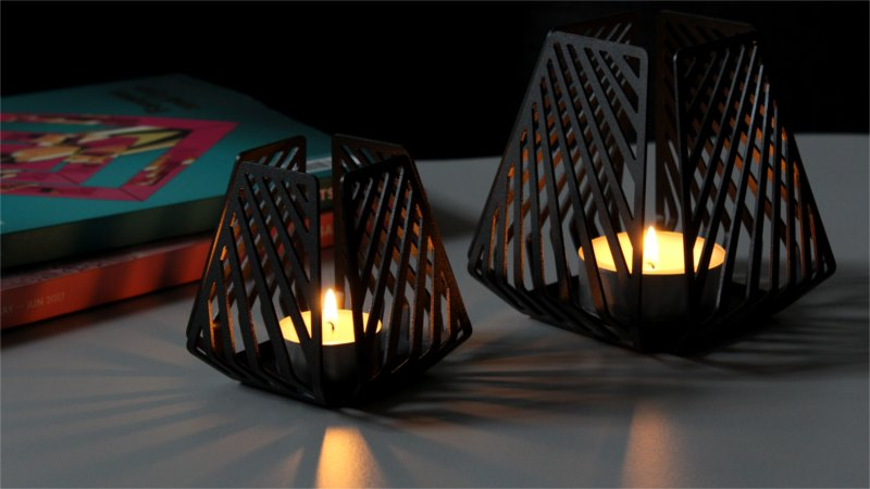 Shadow effects with candleholders – LYSESTAGEN from BY DYB in the pattern Line on a coffee table