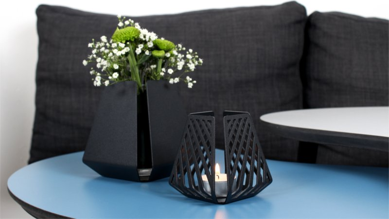 Tealight candle holders – LYSESTAGEN from BY DYB in the patterns Clean and Line to create coziness in the weekend