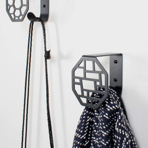 Wall hooks in square and hex pattern
