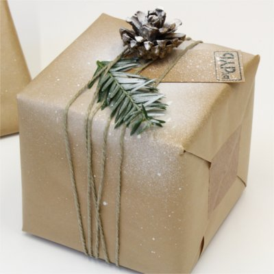 Inspiration for Christmas wrapping form BY DYB with a Nordic theme, close-up