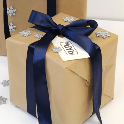 Inspiration for Christmas wrapping form BY DYB with a winter's night theme, close-up