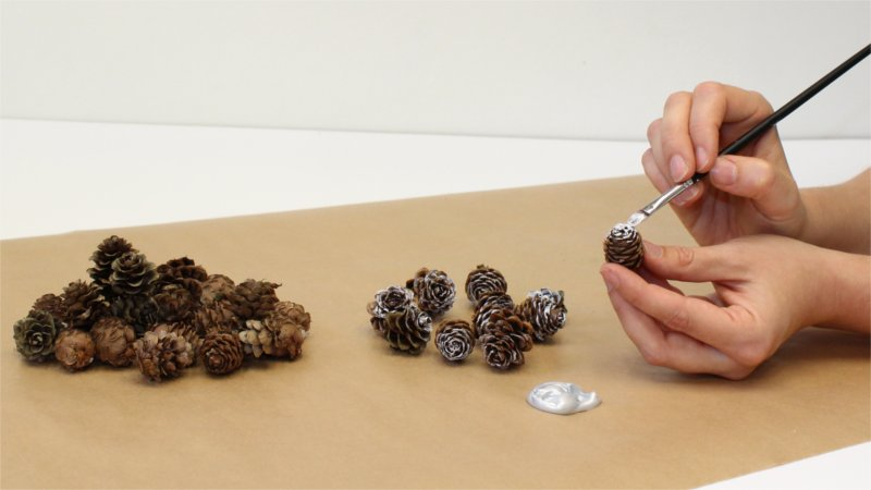 Painting of spruce cones for Christmas decoration in your plant hanger from BY DYB