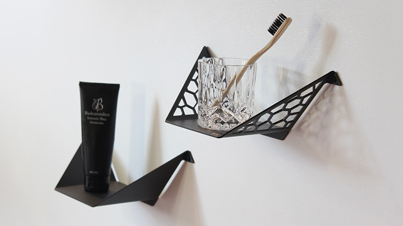 Small shelves from BY DYB styled with toothbrush and skincare