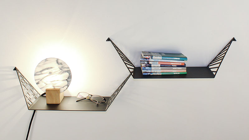 Shelves for the bedroom from BY DYB used as a nightstand with books, lamp and reading glasses