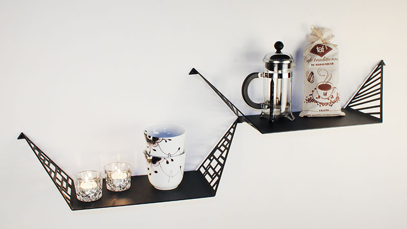 Shelves for the kitchen from BY DYB with coffeecups from Royal Copenhagen, coffee press and coffee beans